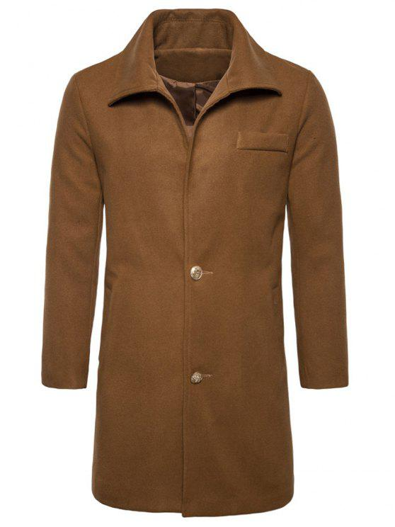 lady Turndown Collar Single Breasted Edging Woolen Coat - CAMEL XL