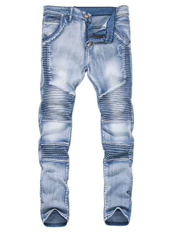 fancy Zipper Fly Accordion Pleat Bleached Biker Jeans - LIGHT BLUE L