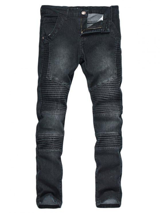 Zipper Fly Accordion Pleat Gebleichte Biker Jeans - Schwarz L