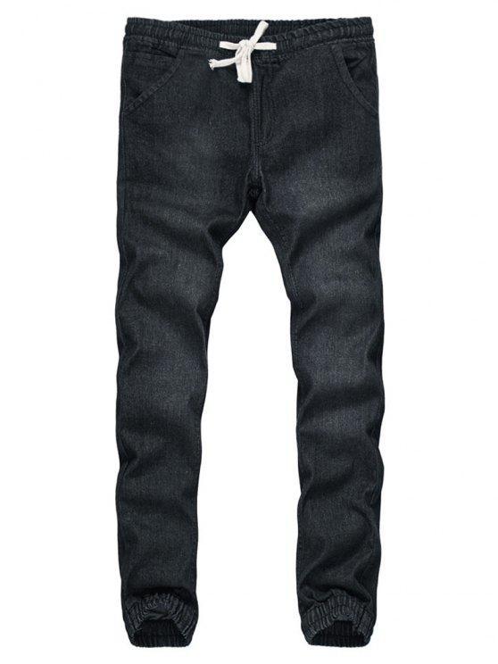 online Drawstring Beam Feet Bleach Wash Jogger Jeans - BLACK M