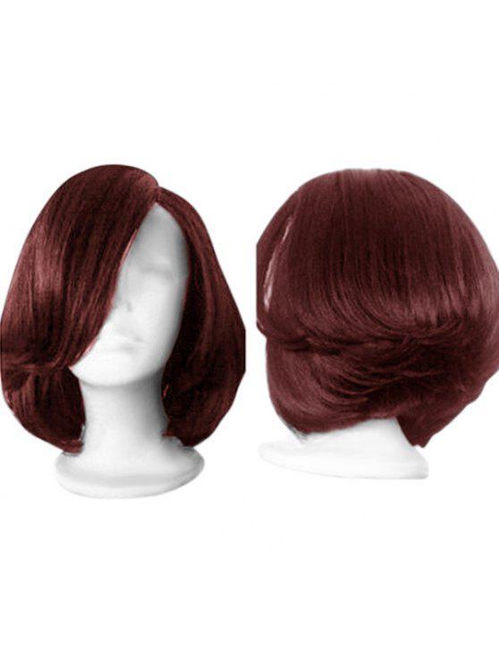 Short Side Parting Straight Wather Emplumado peruca sintética - Vinho vermelho