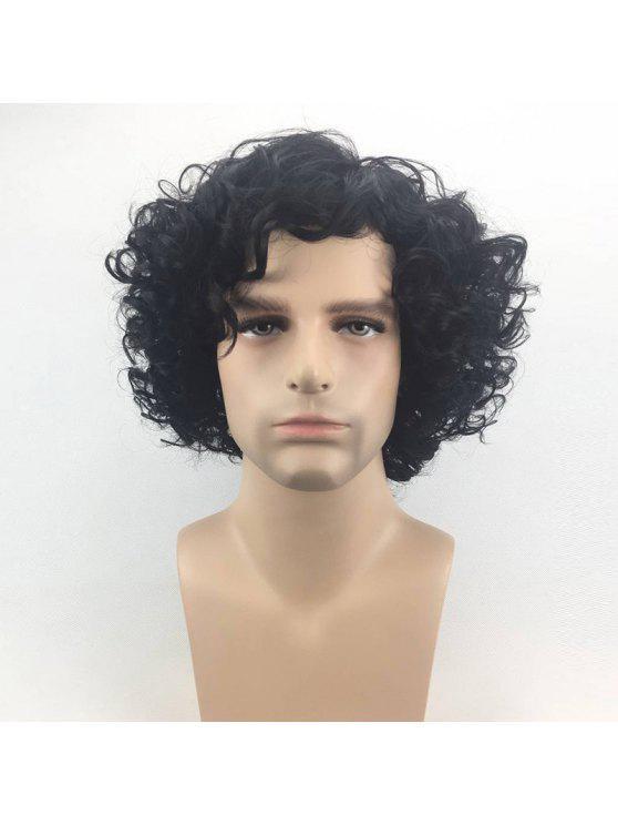 قصيرة الجانب الانفجار أشعث مجعد الاصطناعية رجل شعر مستعار - أسود