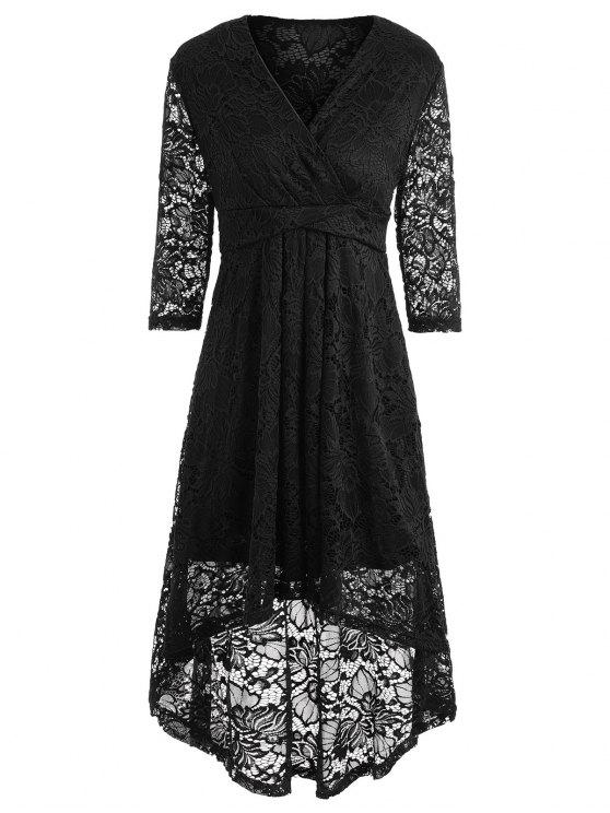 تغرق العنق ارتفاع منخفض الدانتيل فستان ميدي - أسود 2XL