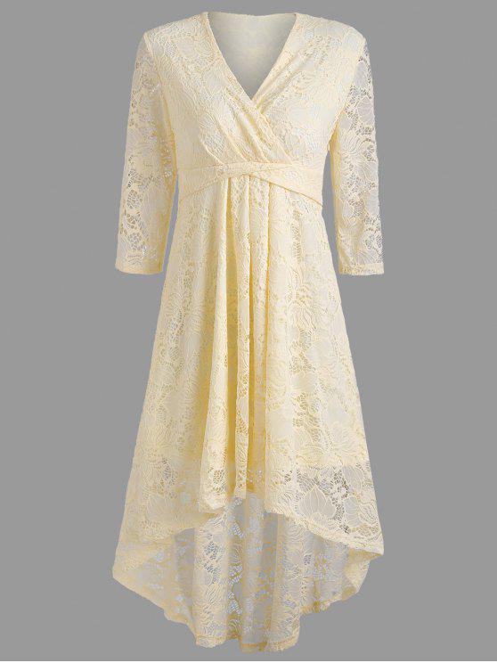 فستان دانتيل غارق خط الرقبة - الأصفر L