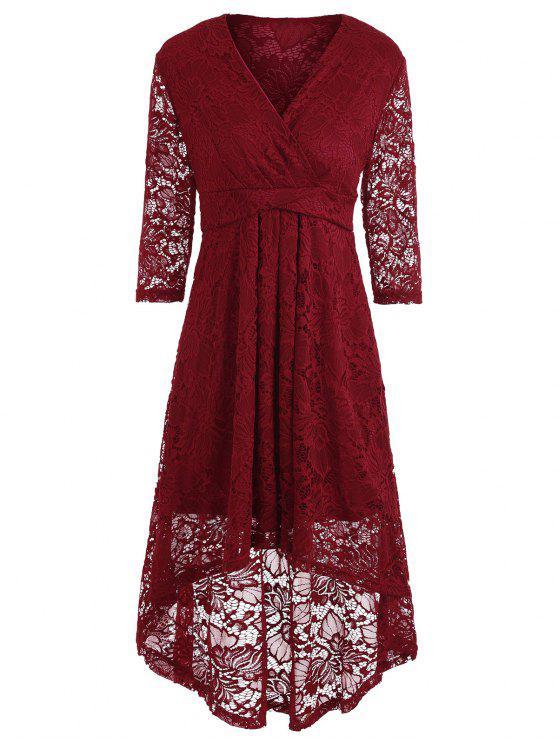 تغرق العنق ارتفاع منخفض الدانتيل فستان ميدي - نبيذ أحمر M