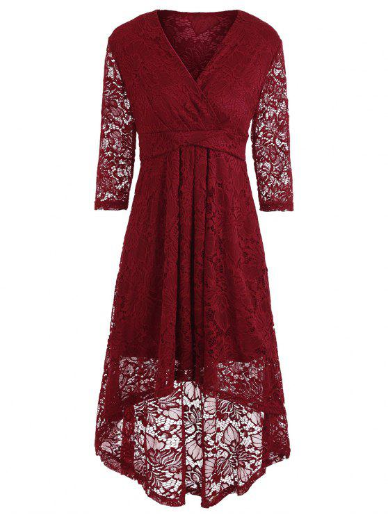 فستان دانتيل غارق خط الرقبة - نبيذ أحمر L