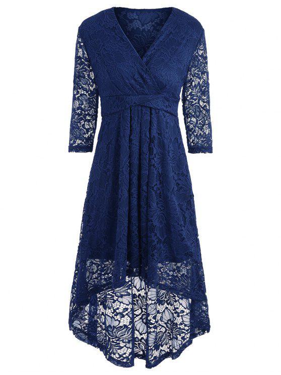 فستان دانتيل غارق خط الرقبة - الأرجواني الأزرق 2XL