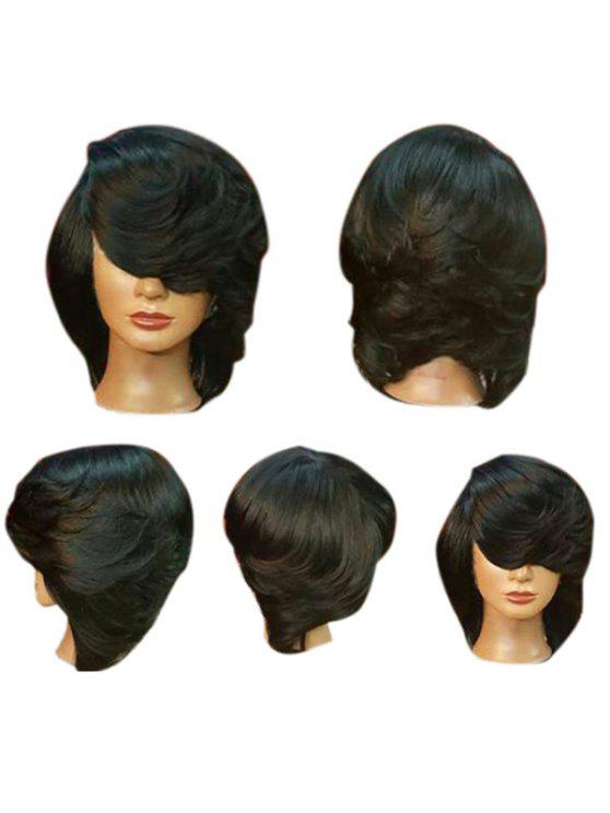 الجانب القصير بانج مستقيم الوجه شعر مستعار الاصطناعية بوب ريش - أسود