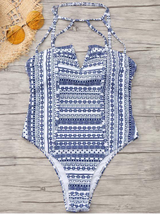 Costume Da Bagno Intero Stampato Tribale Con Taglio Alto - colori misti M