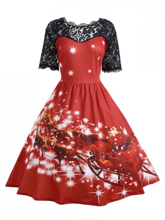 womens Plus Size Lace Panel Father Christmas Midi Party Dress - RED 5XL