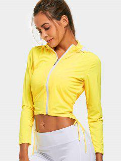 Zip Up Side Drawstring Sporty Hoodie - Yellow M