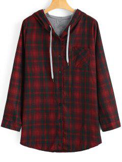 Plus Size Button Up Checked Coat - Checked 2xl