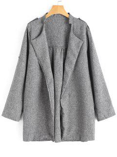 Plus Size Heathered Open Front Coat - Gray 5xl