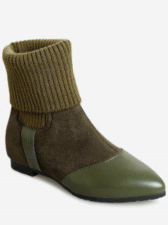 Flat Heel Pointed Toe Boots - Green 35