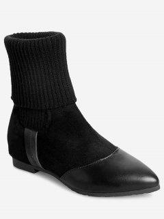 Flat Heel Pointed Toe Boots - Black 36