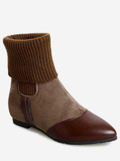 Flat Heel Pointed Toe Boots - Khaki 39