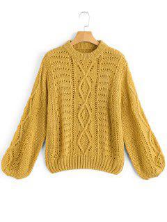 Lantern Sleeve Sheer Pullover Sweater - Mostaza