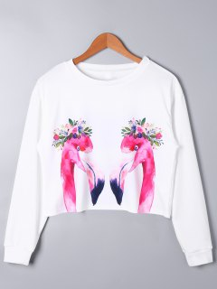 Swan Print Long Sleeve Crop Top - White L