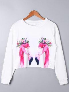 Swan Print Long Sleeve Crop Top - Blanc Xl