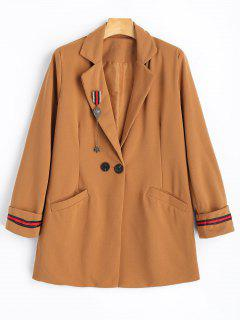 One Button Brooch Embellished Lapel Coat - Camel M
