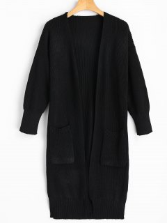 Longline Side Slit Cardigan With Pockets - Black