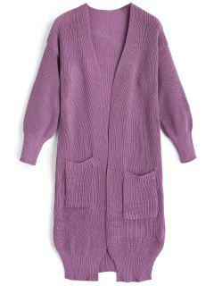 Longline Side Slit Cardigan With Pockets - Purple