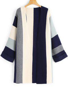 Curled Sleeve Contrasting Open Front Cardigan - Multicolor