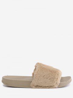 Faux Fur Open Toe Slippers - Khaki 36