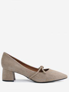 Bandage Pointed Toe Chunky Heel Pumps - Apricot 34