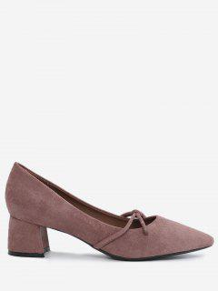 Bandage Pointed Toe Chunky Heel Pumps - Bean Paste Color 36