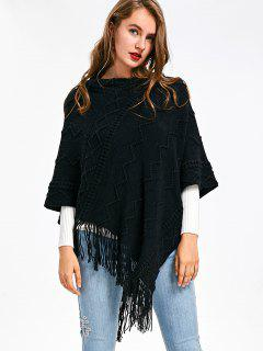 Wave Knit Cape Sweater With Tassel - Black