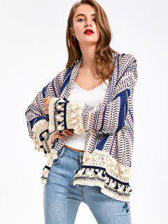Print Tassel Short Kimono - Blue L