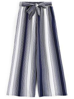 Ninth Bowknot Stripes Wide Leg Pants - Stripe
