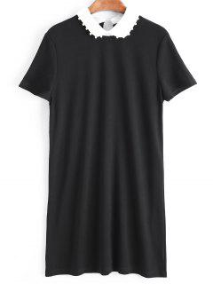 Two Tone Faux Pearls Mini Dress - Black S