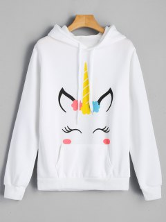 Fleece Graphic Kangaroo Pocket Hoodie - White S