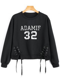 Lace-up Adamif Graphic Sweatshirt - Black