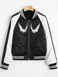 Zip Up Crowned Crane Souvenir Jacket - Black S