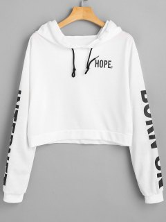 Drawstring Cropped Letter Hoodie - White S