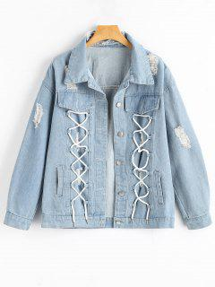 Button Up Lace Up Ripped Denim Jacket - Light Blue L