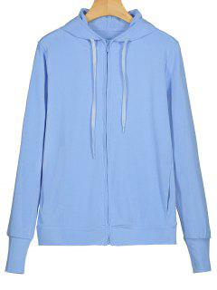 Thumbhole Zip Up Hoodie - Light Blue M