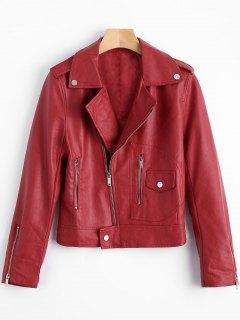 Reißverschluss-Revers-Biker-Jacke - Dunkelrot L