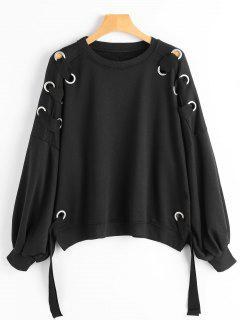 Puff Sleeve Ring Embellished Sweatshirt - Black S