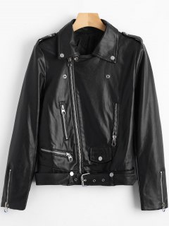 Belted Zipper Up Biker Jacket - Black S