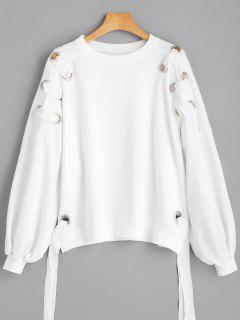 Puff Sleeve Ring Embellished Sweatshirt - White S