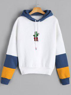 Cacti Embroidered Contrast Drawstring Hoodie - White M