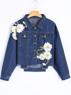 Flower Appliqued Frayed Hem Denim Jacket - Deep Blue M