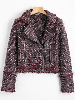 Zip Up Crop Tweed Jacke - Burgund L
