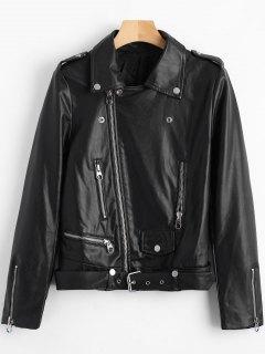 Belted Zipper Up Biker Jacket - Black M