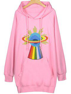 Embroidered Tunic Hoodie - Pink Xl