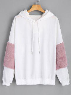 Puff Sleeve Faux Fur Embellished Drawstring Hoodie - White
